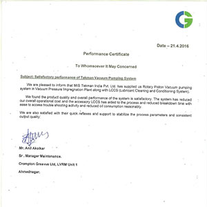 Performance Certificate - Crompton Greaves