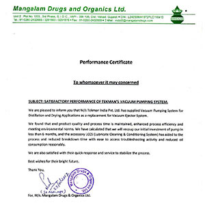 Performance Certificate - Mangalam Drugs & Organics Ltd.